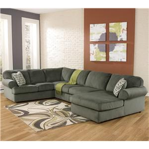 Signature Design by Ashley Furniture Jessa Place - Pewter Sectional Sofa with Right Chaise