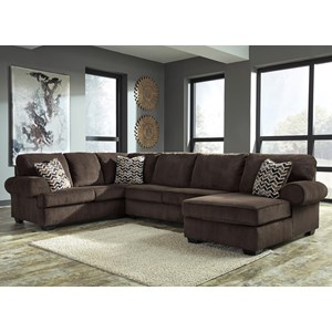 Contemporary 3-Piece Sectional with Right Chaise in Corduroy Fabric