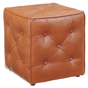 Faux Leather Square Accent Ottoman with Button Tufting