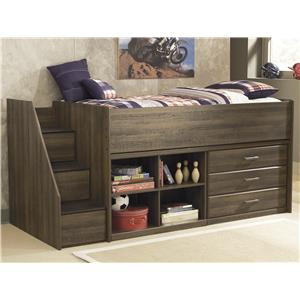 Signature Design by Ashley Juararo Twin Loft Bed with Left Storage Steps