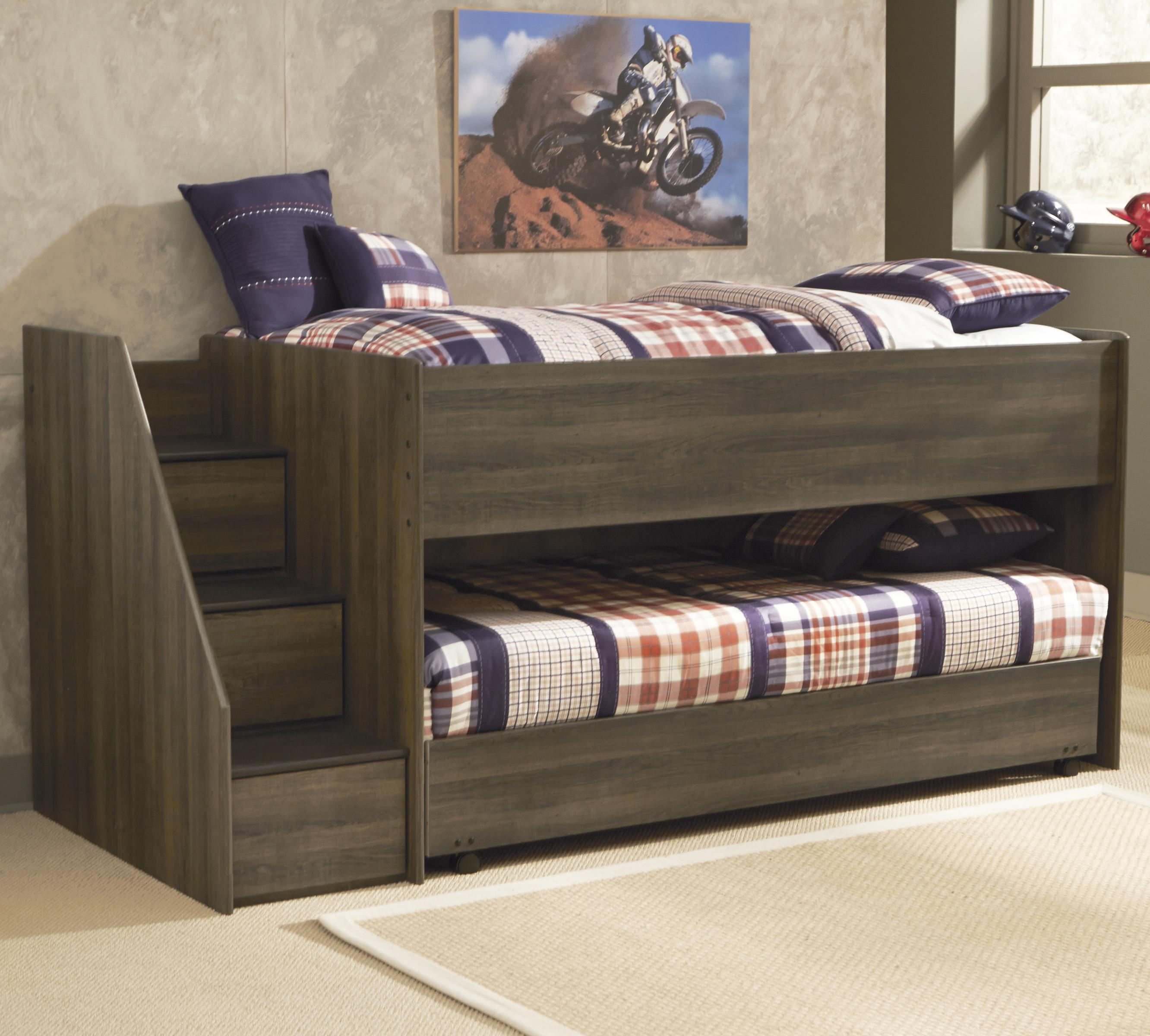 Twin Loft Bed w/ Left Storage Steps & Twin Caster Bed by Signature ...