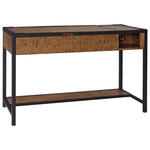 Distressed Pine & Steel Home Office Lift Top Desk/Standing Desk