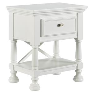 One Drawer Night Stand with Shelf & X-Back