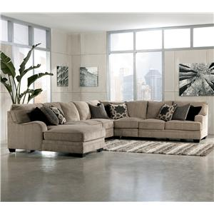Signature Design by Ashley Furniture Katisha - Platinum 5-Piece Sectional Sofa with Left Chaise