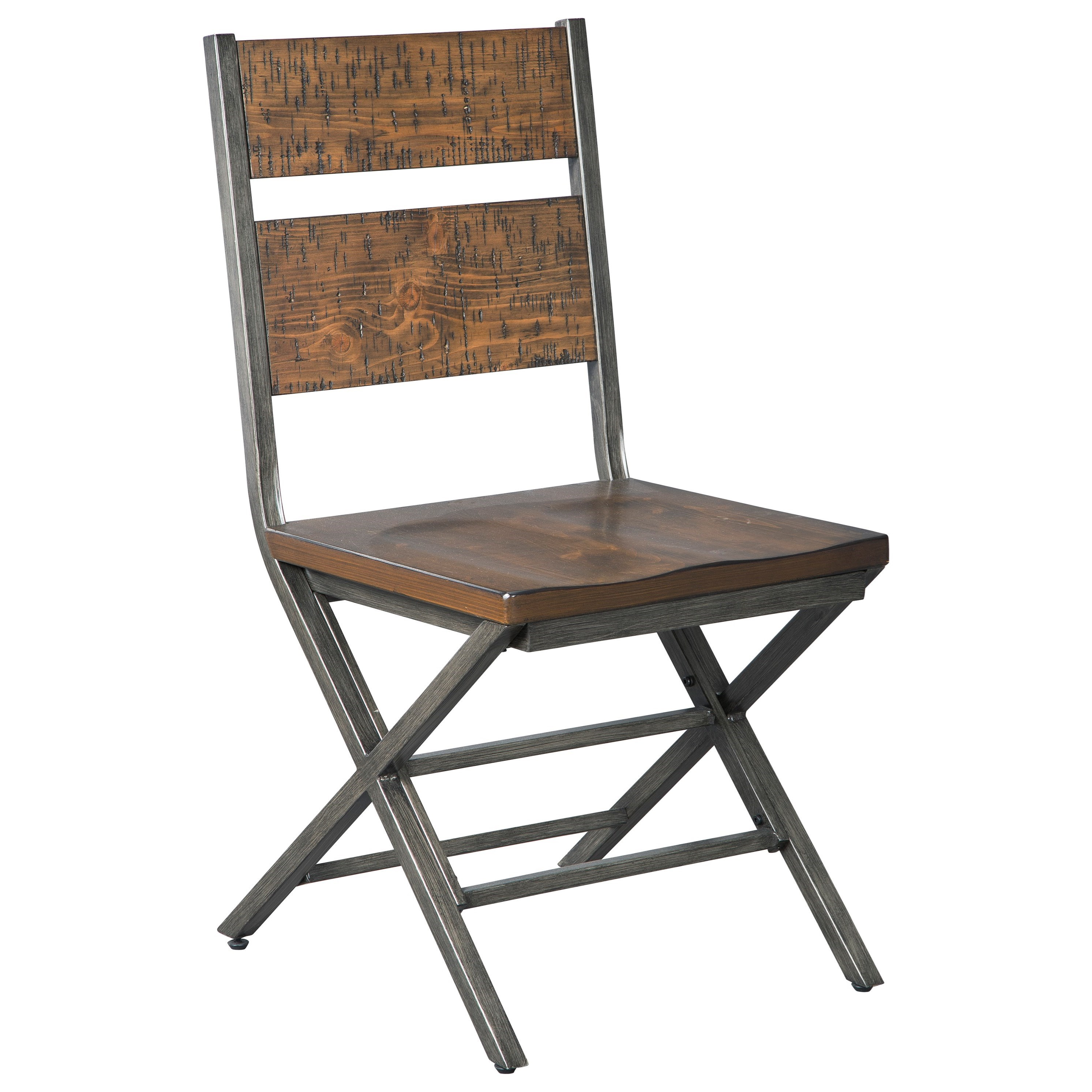Wood Steel Dining Room Chairs: Distressed Pine Wood/Metal Dining Room Chair By Signature