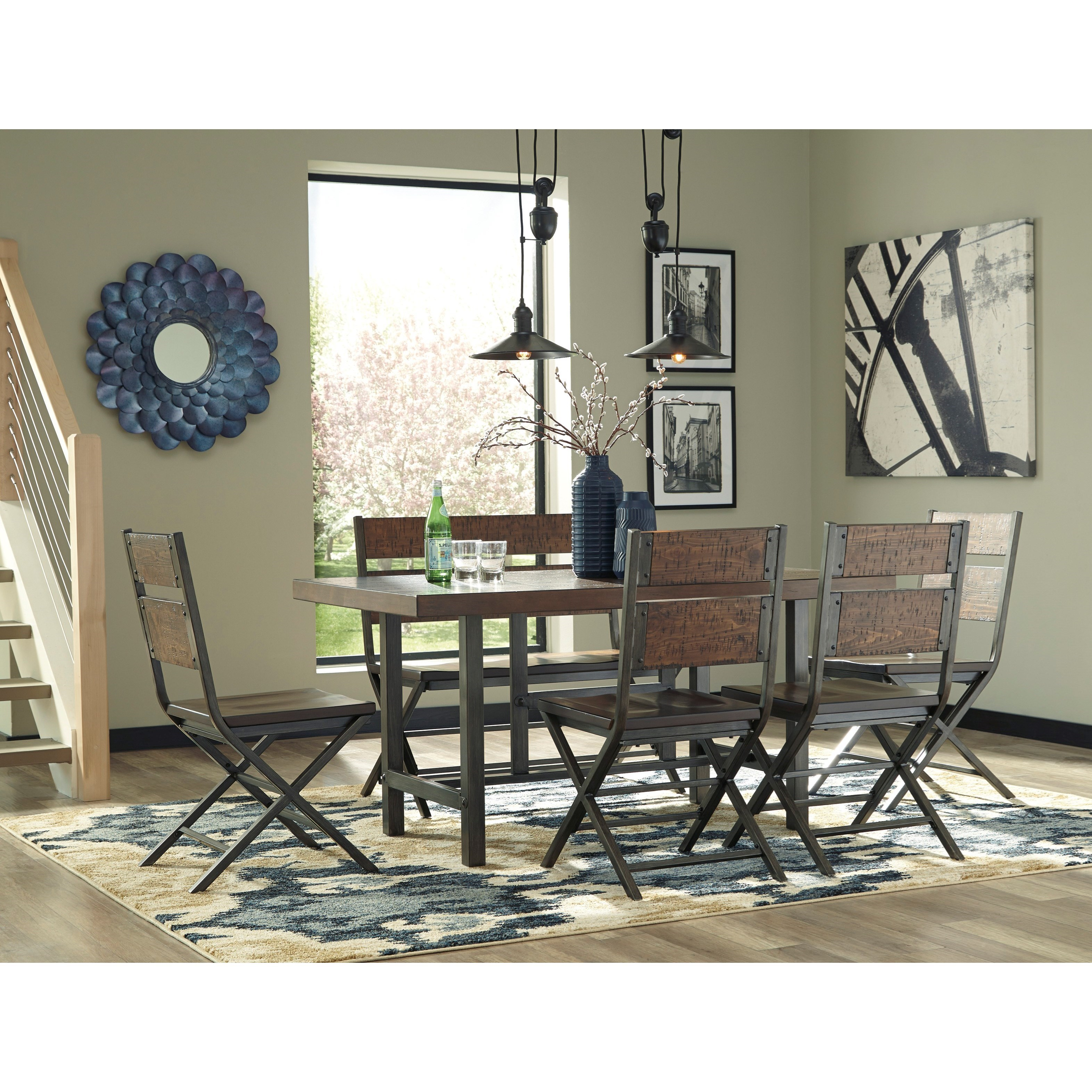 Distressed Dining Room Chairs: Distressed Pine Wood/Metal Dining Room Chair By Signature