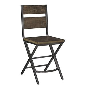 Medium Brown Bar Stool w/ Shaped Foot Rest and Pine Veneers