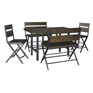 5-Piece Counter Table w/ 2 Bar Stool and 2 Double Bar Stool Set