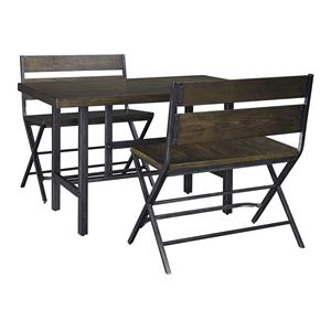 3-Piece Rectangular Dining Room Counter Table w/ Pine Veneers and Double Bar Stool w/ Shaped Foot Rest Set