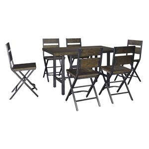7-Piece Rectangular Dining Room Counter Table w/ Pine Veneers and Bar Stool w/ Shaped Foot Rest Set