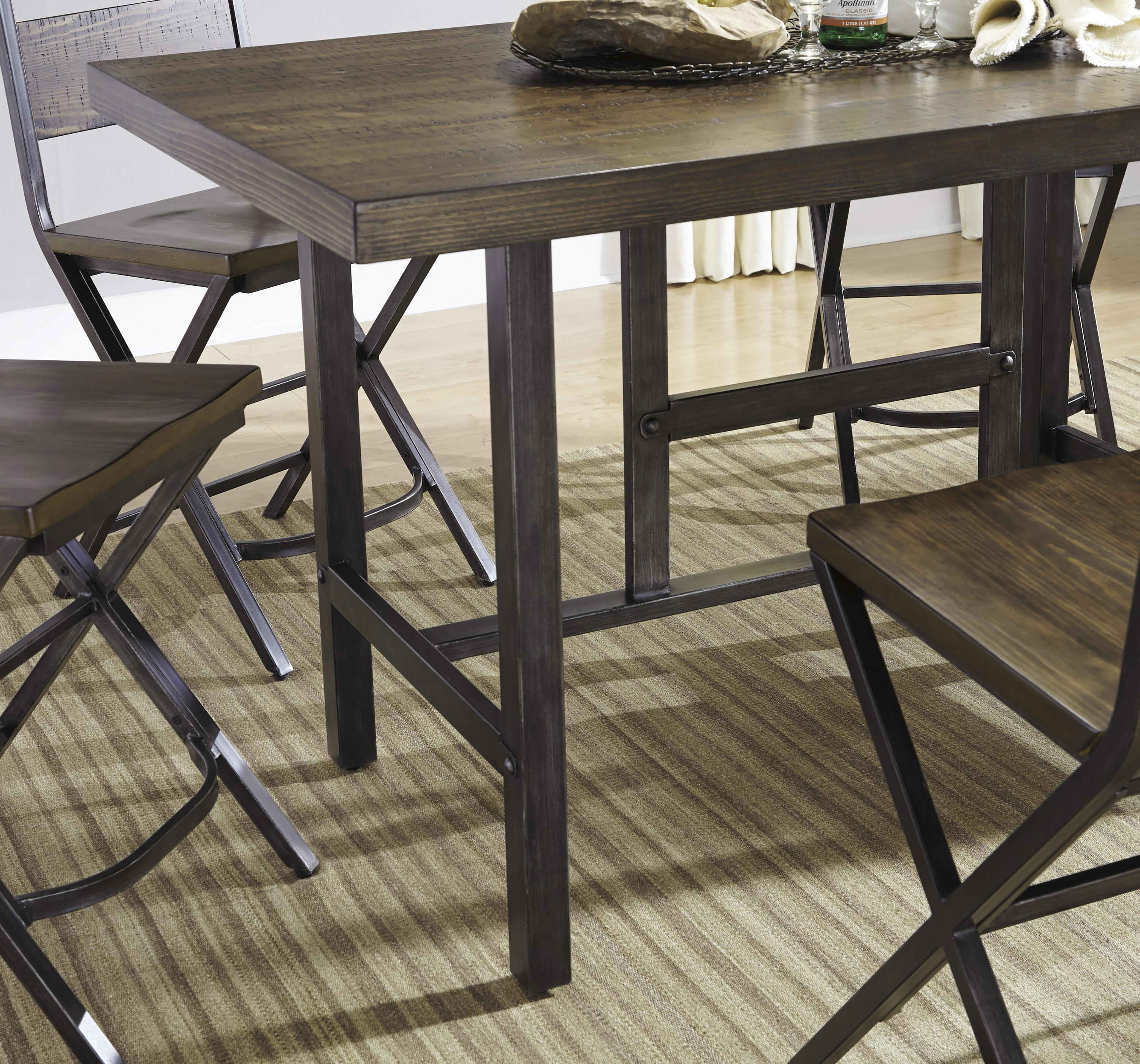 Rectangular Dining Room Counter Table W Pine Veneers And Metal Base