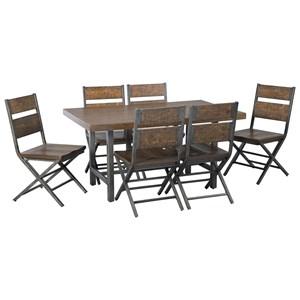 7-Piece Distressed Pine/Metal Rectangular Dining Table Set