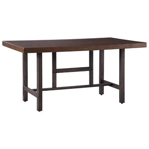 Distressed Pine Wood/Metal Rectangular Dining Room Table