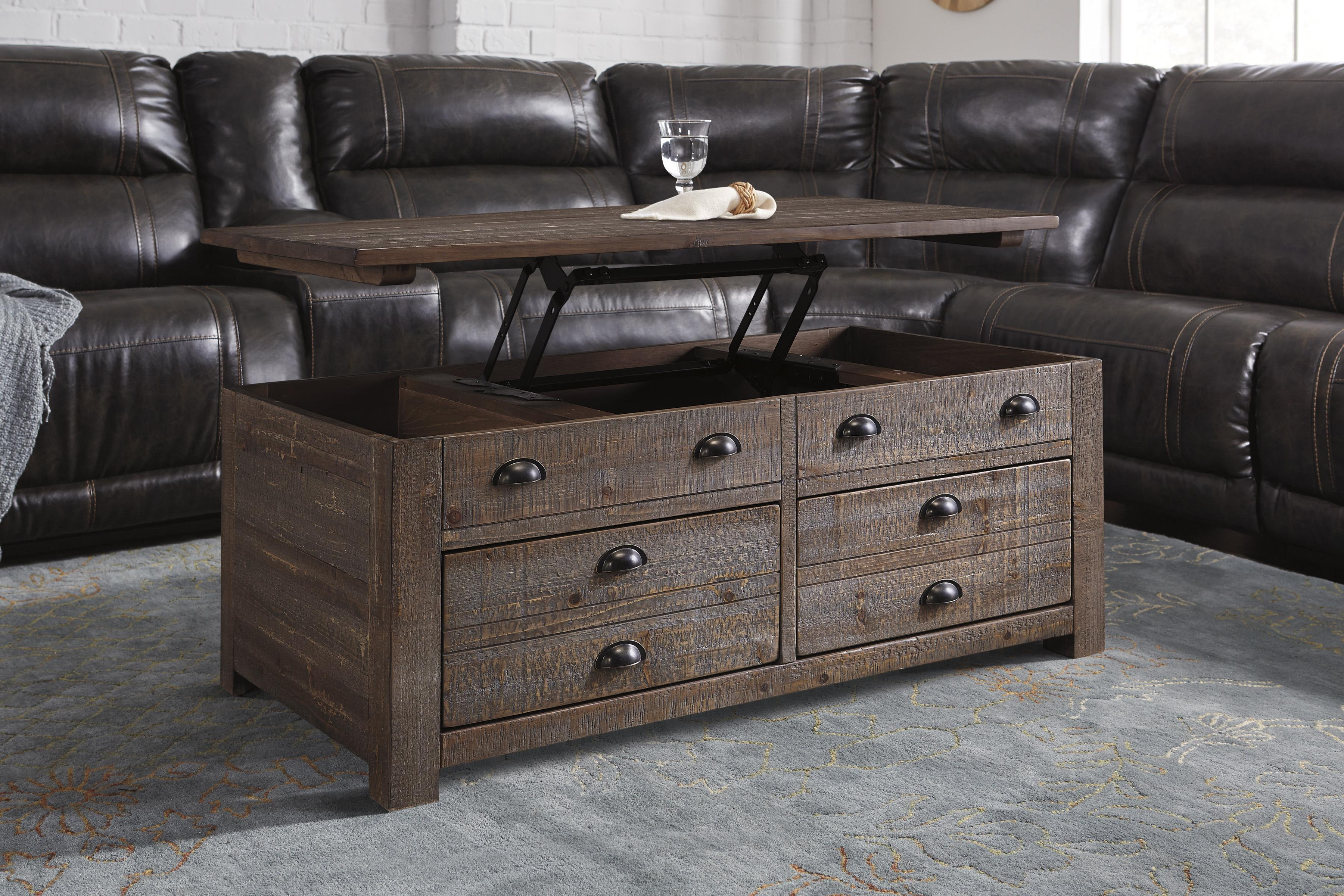 rustic pine trunk-style rectangular lift-top coffee table with 2