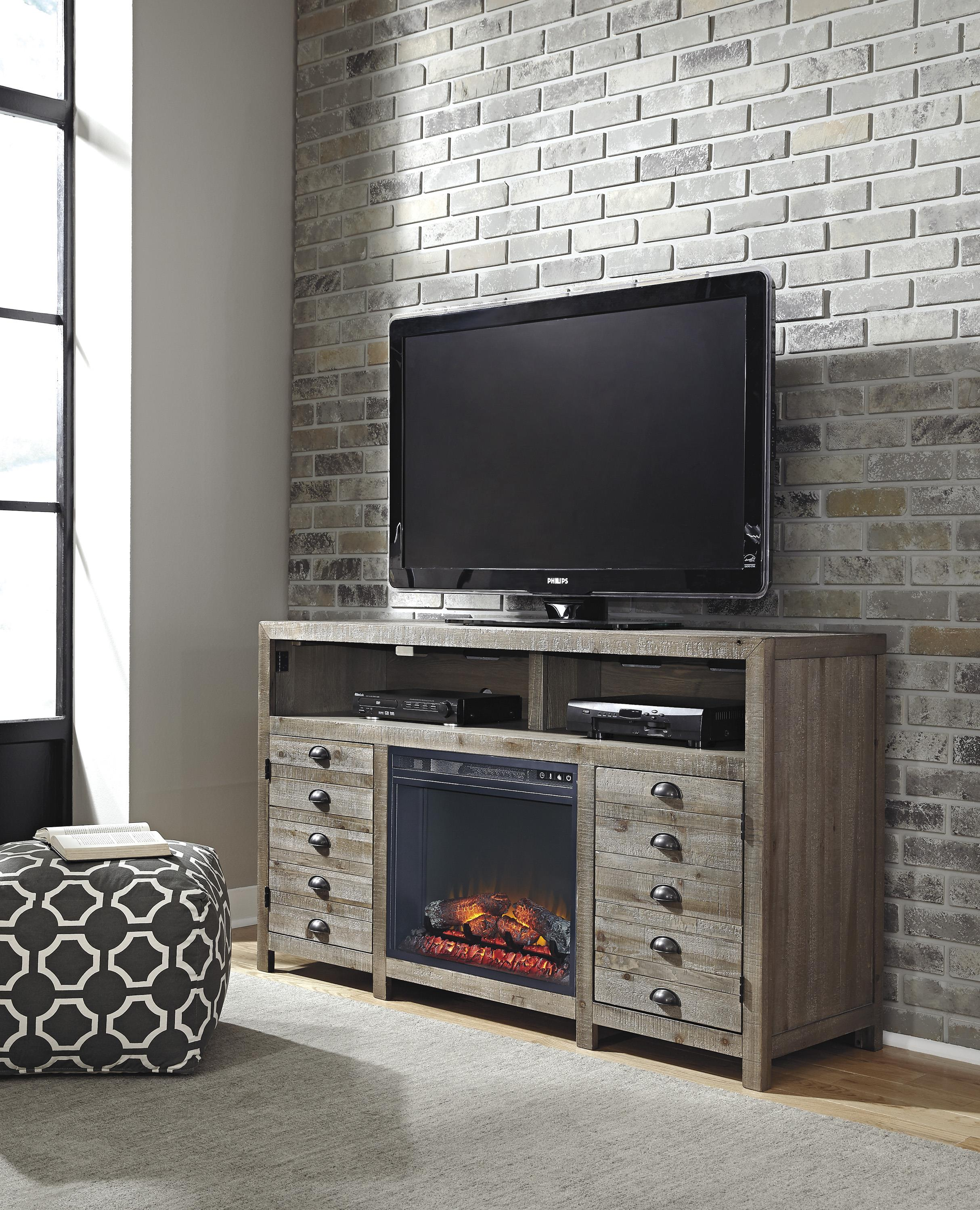 rustic gray brown pine tv stand with electric fireplace insert by