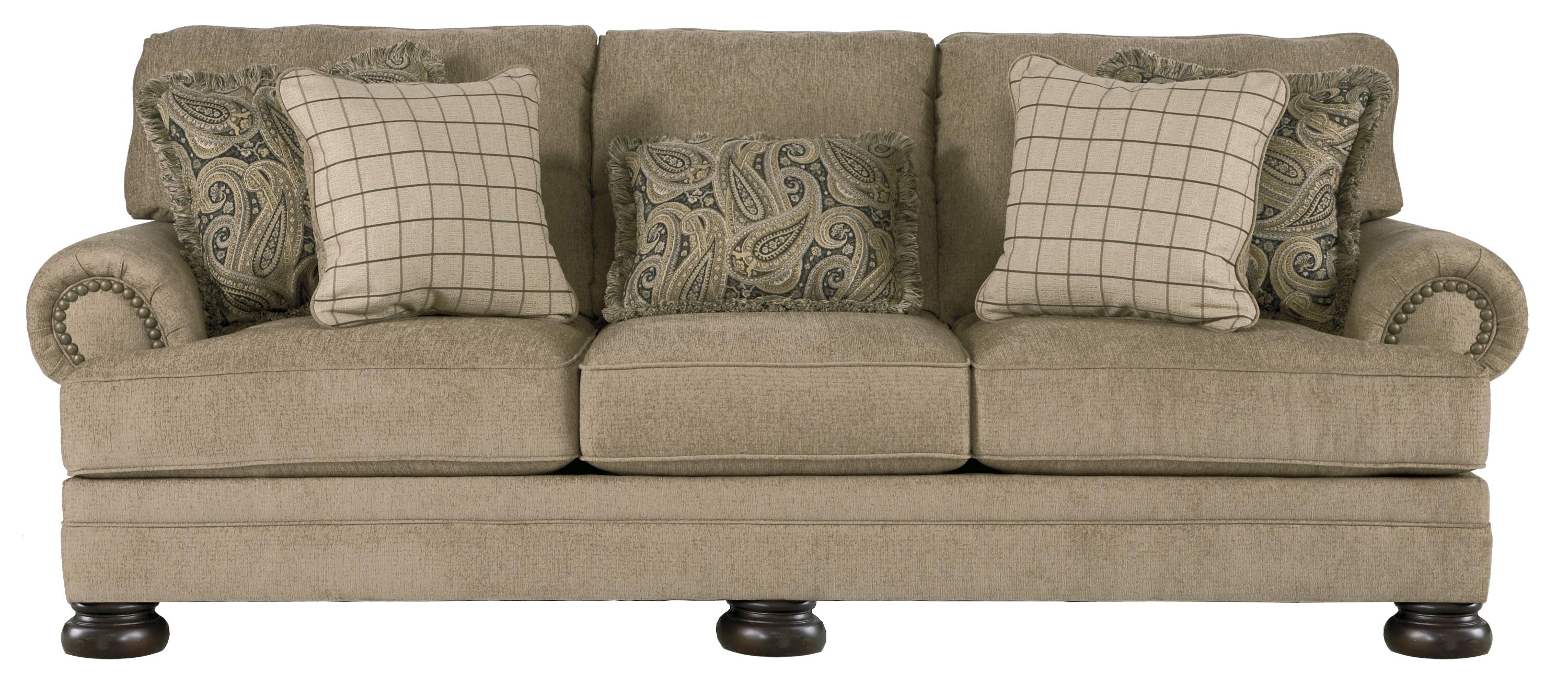 Transitional Sofa With Rolled Arms And Bun Feet