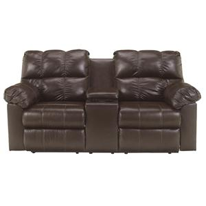 Signature Design by Ashley Furniture Kennard - Chocolate Dbl Rec Love Seat w/Console