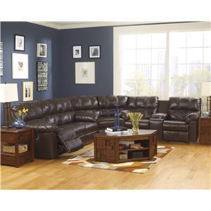 Signature Design by Ashley Kennard - Chocolate Reclining Sectional Sofa