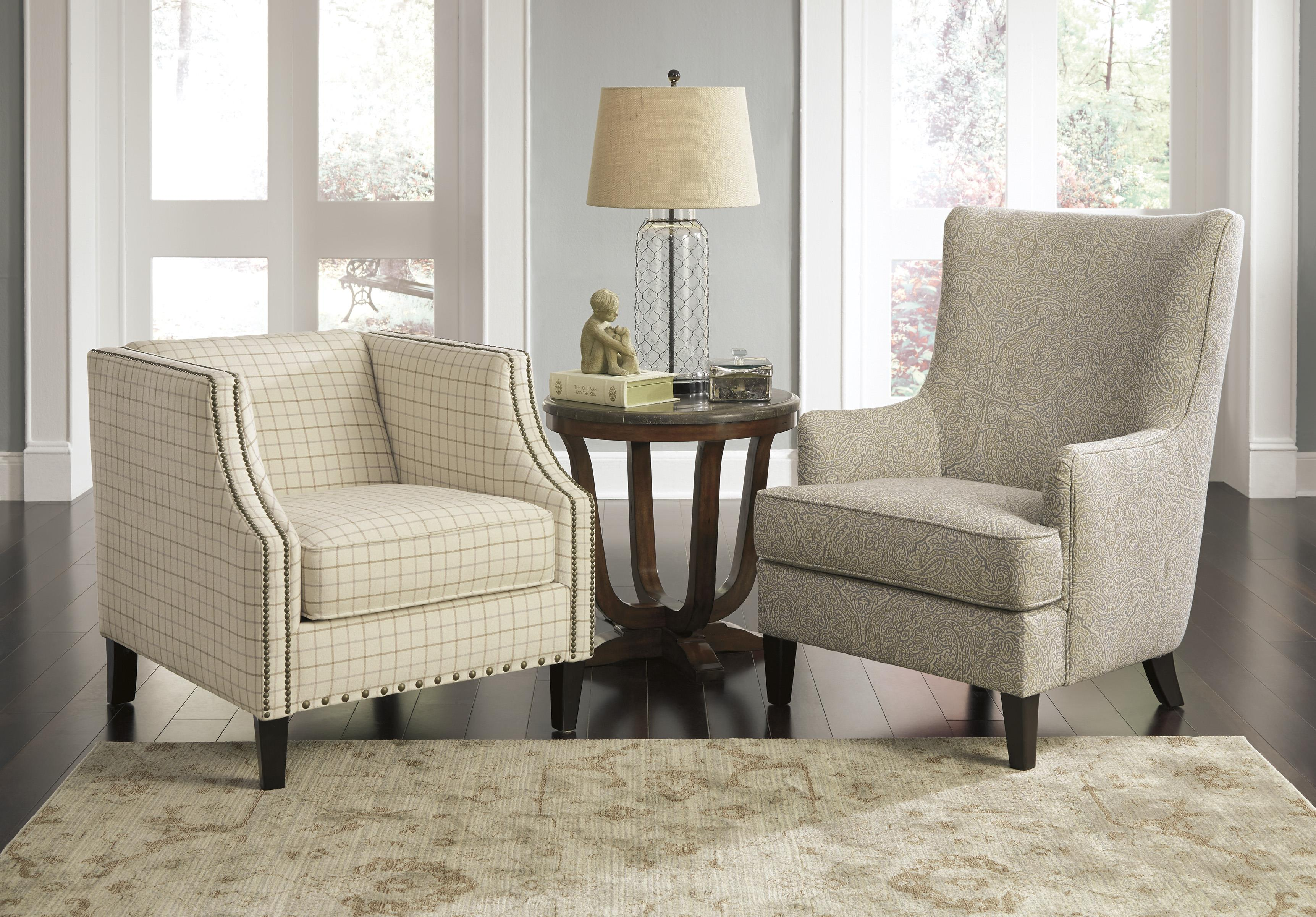 Transtional Accent Chair With Wing Back