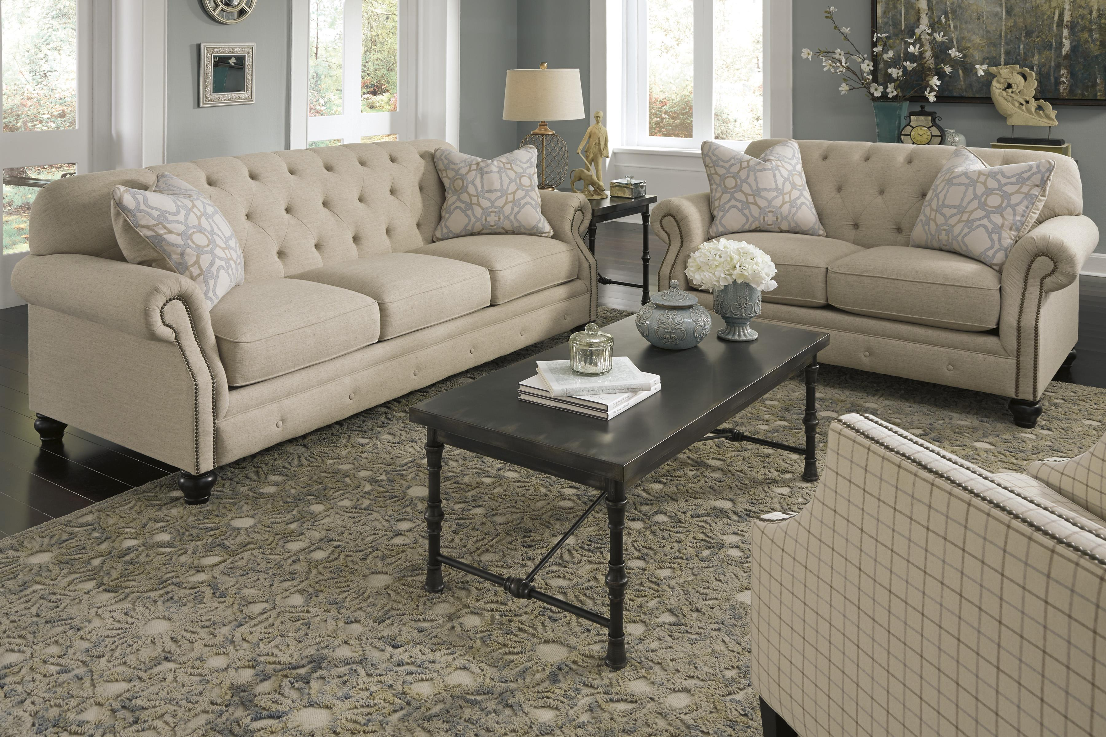 Traditional Loveseat With Tufted Back And Feather Blend Accent Pillows By Signature Design By