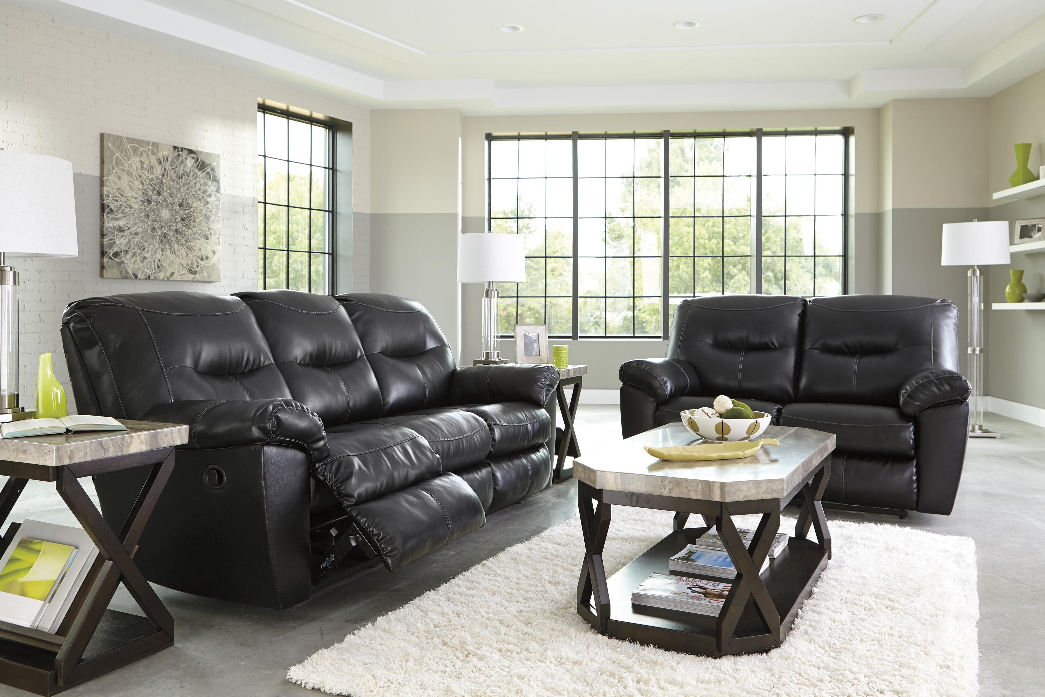 Faux Leather Contemporary Reclining Sofa & Faux Leather Contemporary Reclining Sofa by Signature Design by ... islam-shia.org