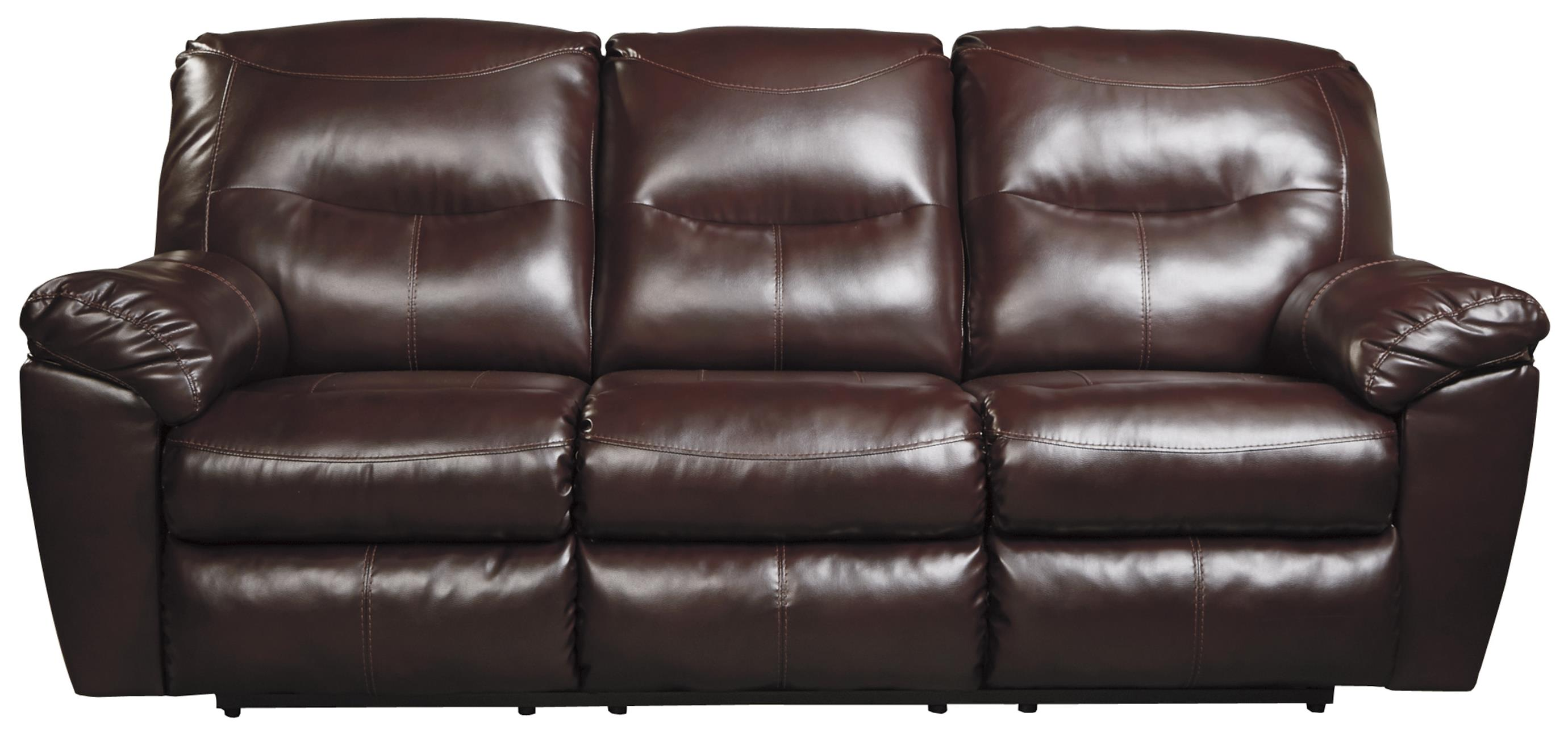 Faux Leather Contemporary Reclining Sofa By Signature Design By Ashley Wolf And Gardiner Wolf