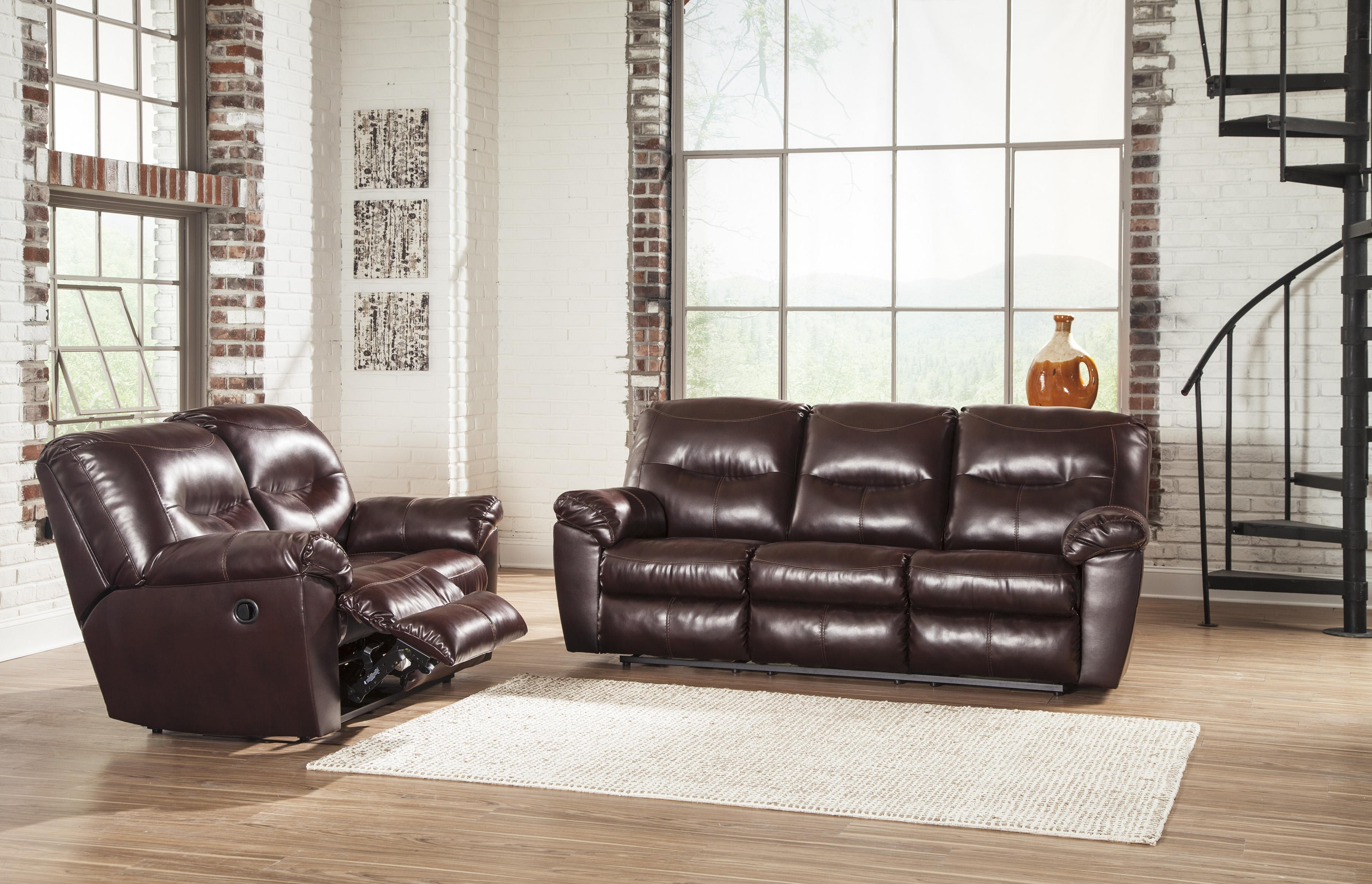 Faux Leather Contemporary Reclining Sofa by Signature Design by