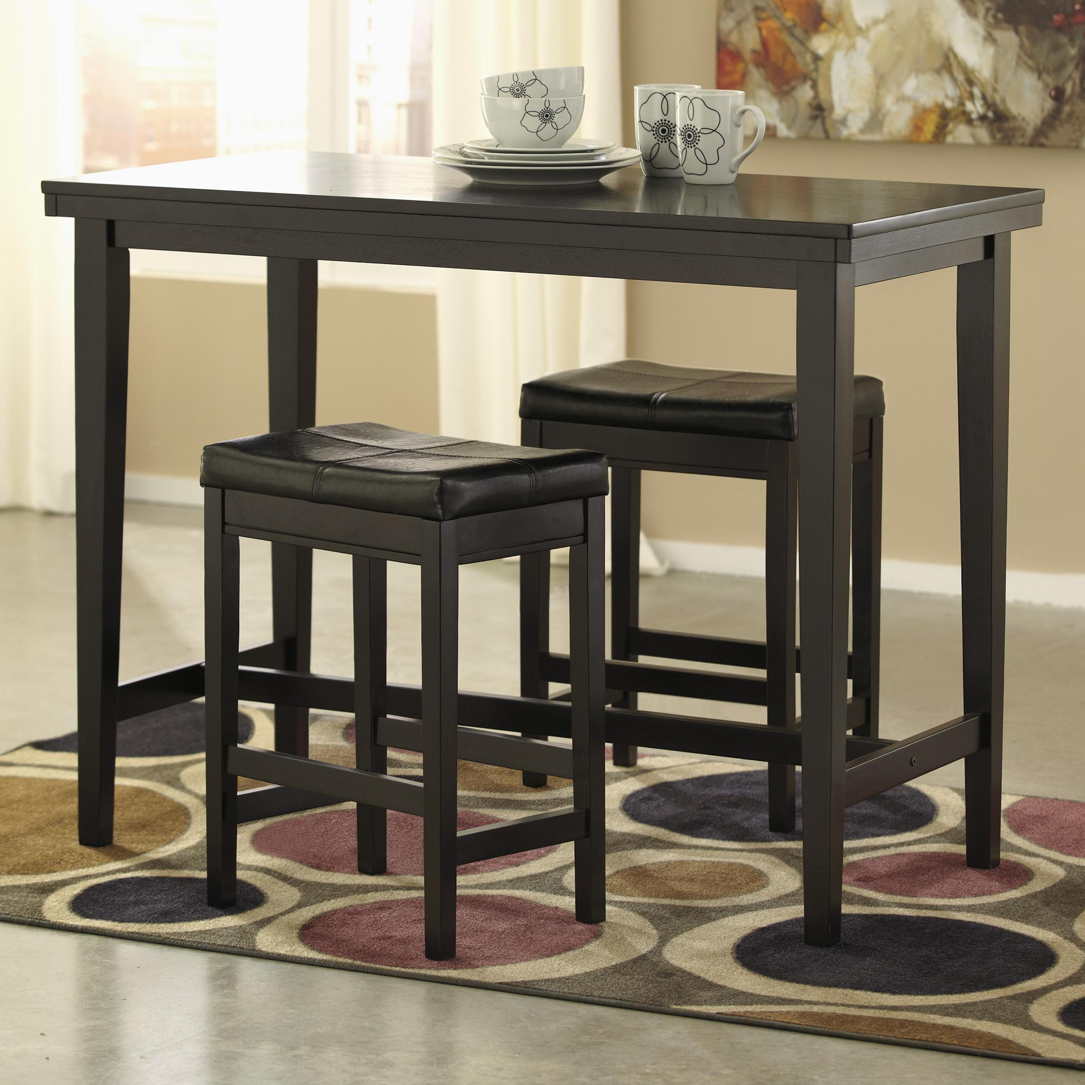 3-Piece Counter Table Set with Dark Brown Upholstered Stools