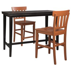 3-Piece Counter Table Set with Orange Red Slat Back Stools