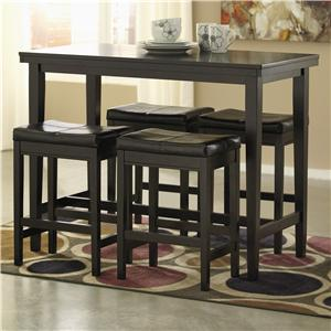 5-Piece Counter Table Set with Dark Brown Upholstered Stools