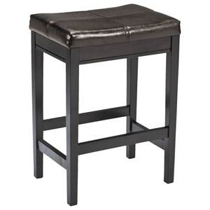 Contemporary Backless Upholstered Barstool - Dark Brown