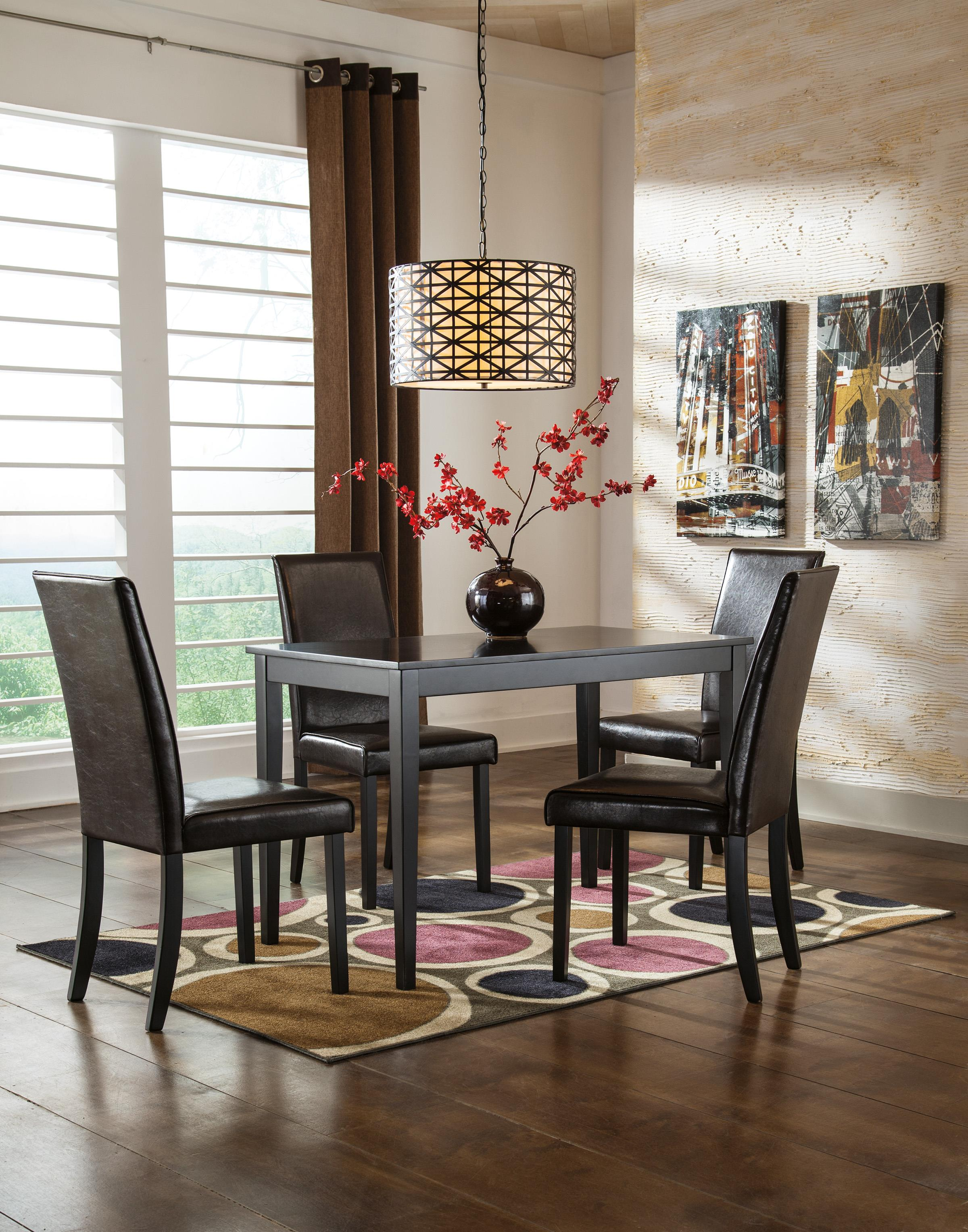 Ashley Furniture Dining Room Table Set: 5-Piece Rectangular Table Set With Brown Chairs By