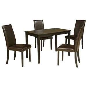 5-Piece Rectangular Table Set with Brown Chairs