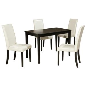 5-Piece Rectangular Table Set with Ivory Chairs