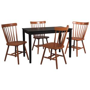 5-Piece Rectangular Table Set with Orange Red Spindle Back Chairs