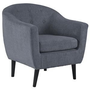 Mid-Century Modern Accent Chair with Tufted Back and Rounded Tapered Legs