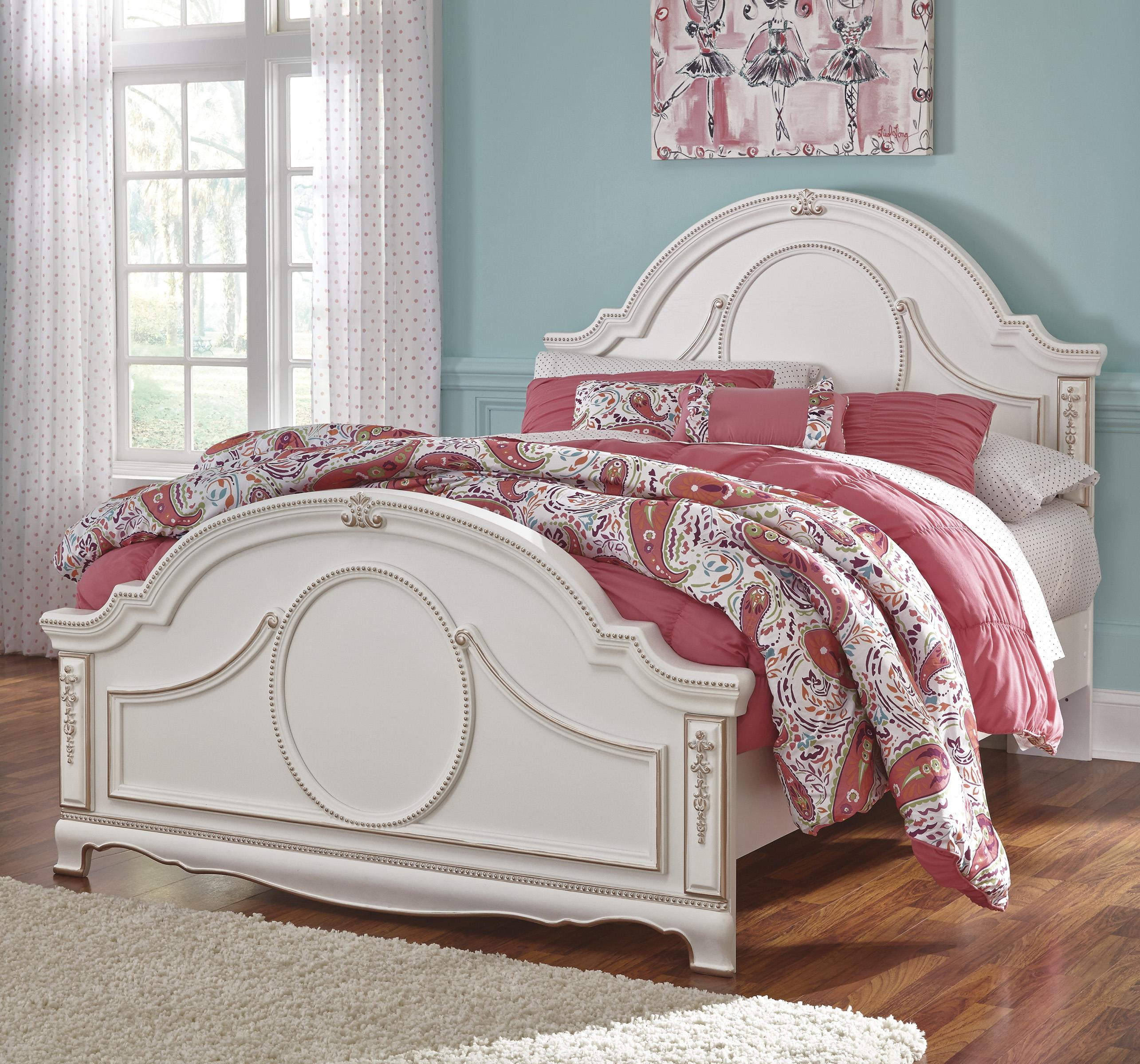 Ornate Traditional Full Panel Headboard with Rose Gold Color