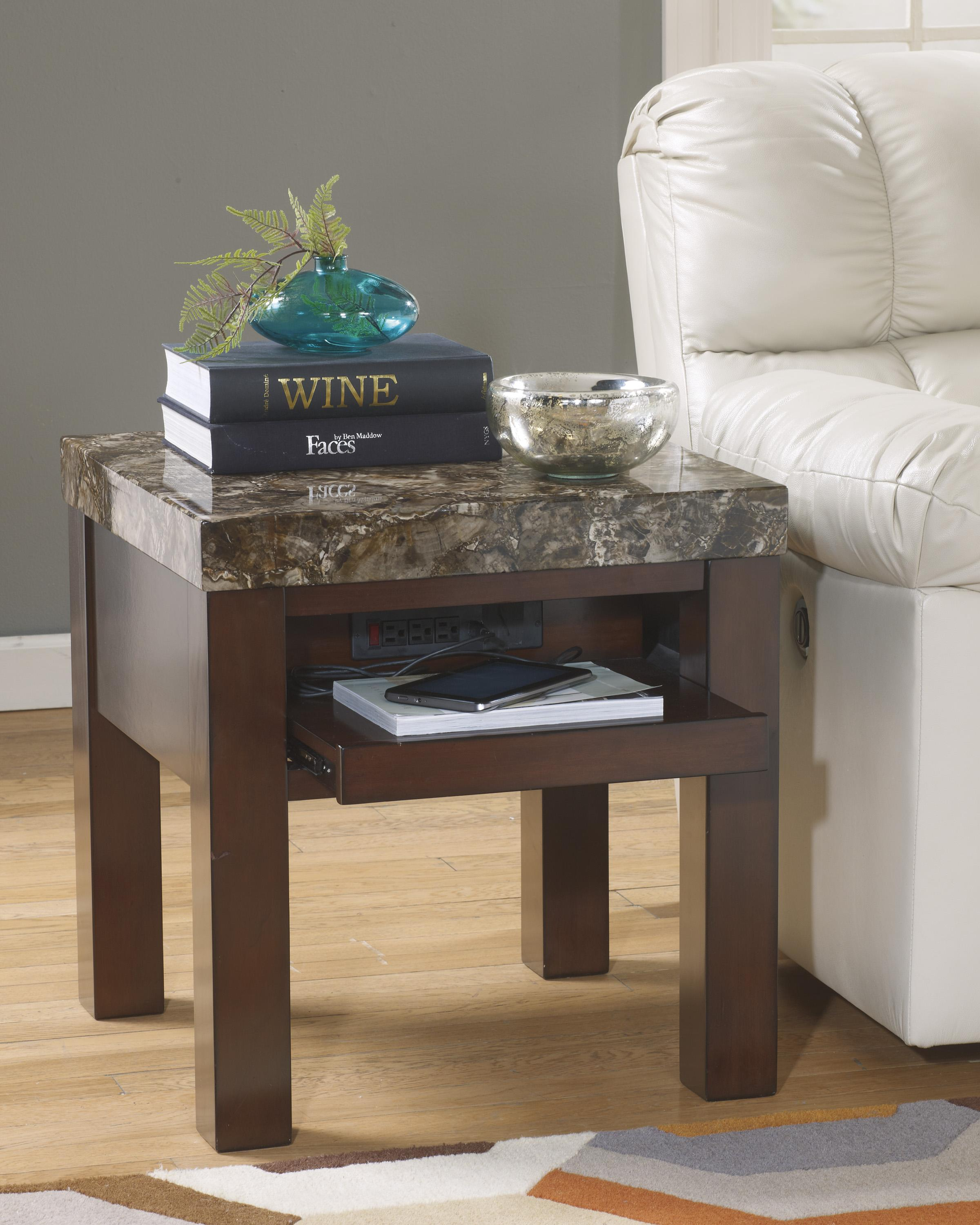 Square end table with pull out shelf with outlet usb charger by square end table watchthetrailerfo