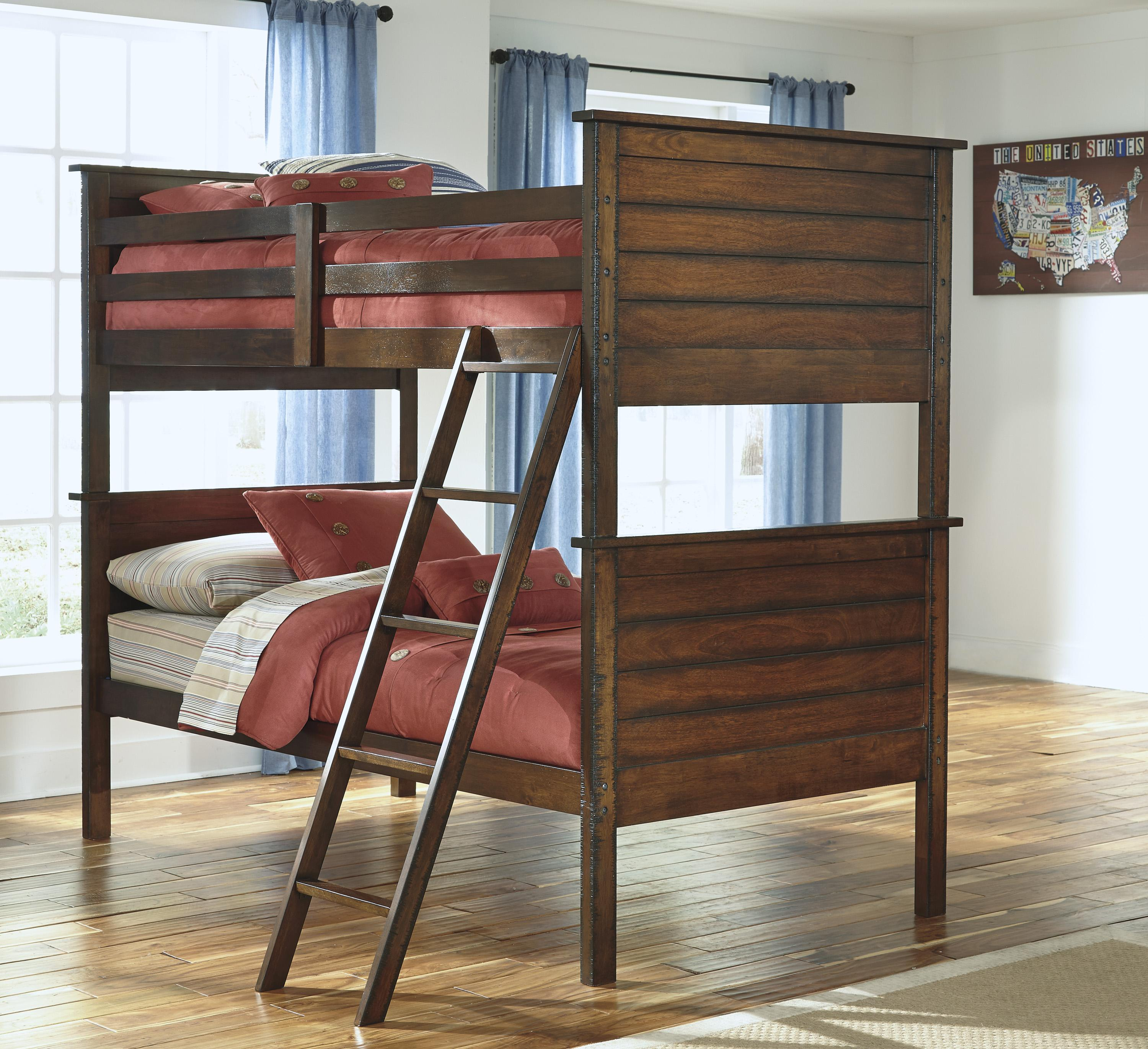 Rustic Twin Twin Bunk Bed By Signature Design By Ashley Wolf And Gardiner Wolf Furniture