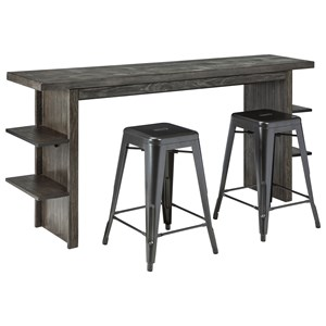 Contemporary Long Counter Table and Barstool Set