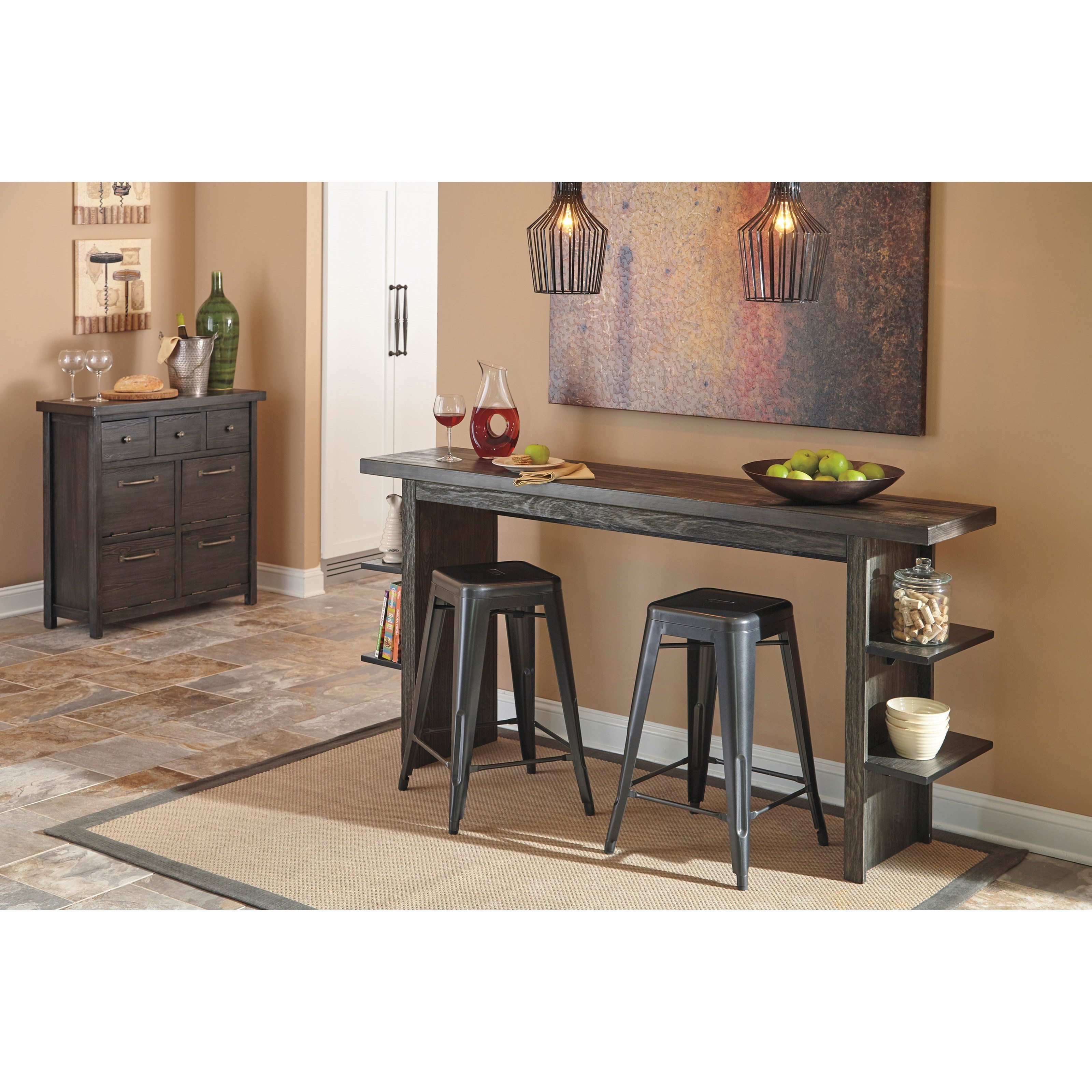 contemporary dining room server with 3 drawers and 4 tip out bins