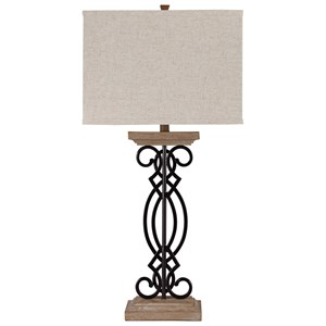 Set of 2 Edalene Metal/Faux Wood Table Lamps