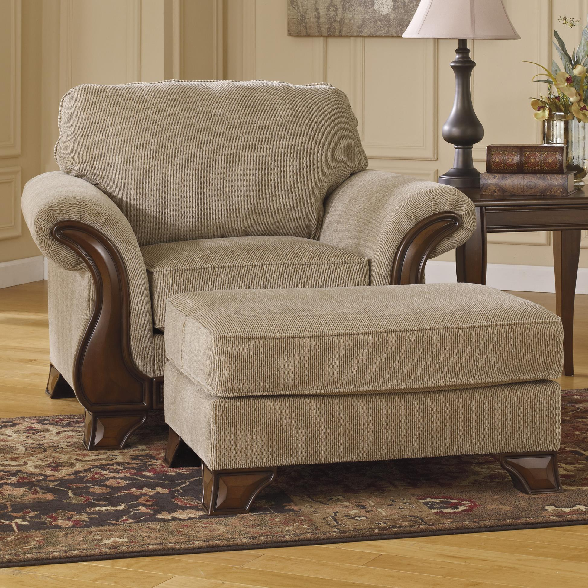 Chair U0026 Ottoman With Exposed Wood Accents