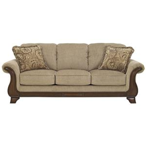 Queen Sofa Sleeper with with Memory Foam Mattress, Flared Arms & Faux Wood Accents