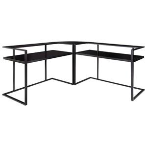Contemporary Metal/Glass L-Shape Home Office Corner Desk