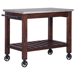 Server/Kitchen Cart with Metal Look Top, Towel Rack & Industrial Style Wheels