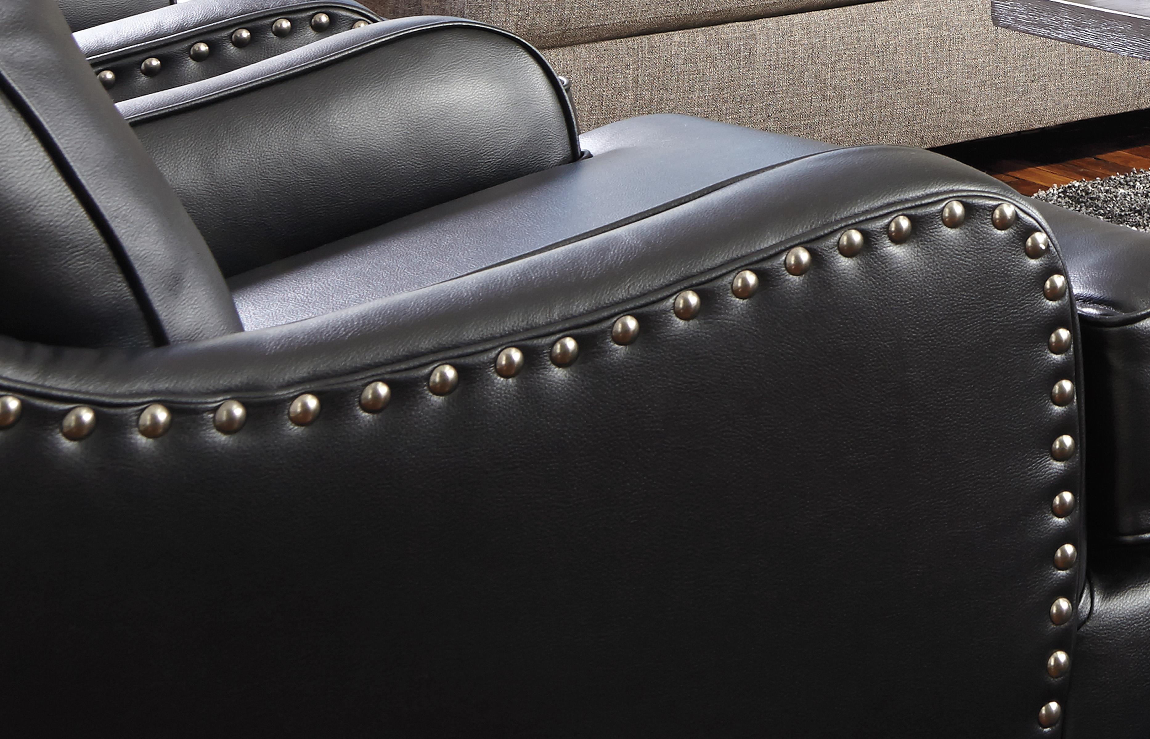 Black Faux Leather Accent Chair with Nailhead Trim by Signature