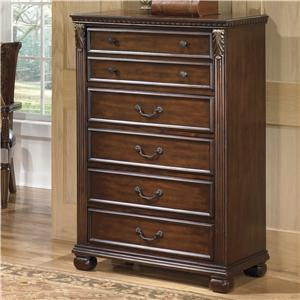 Traditional 5-Drawer Chest with  Fluted Pilasters