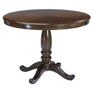 Round Dining Table with Turned Pedestal Base & Bordered Veneer Top