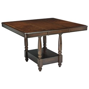 Dining Room Counter Extension Table with Bordered Veneer Top